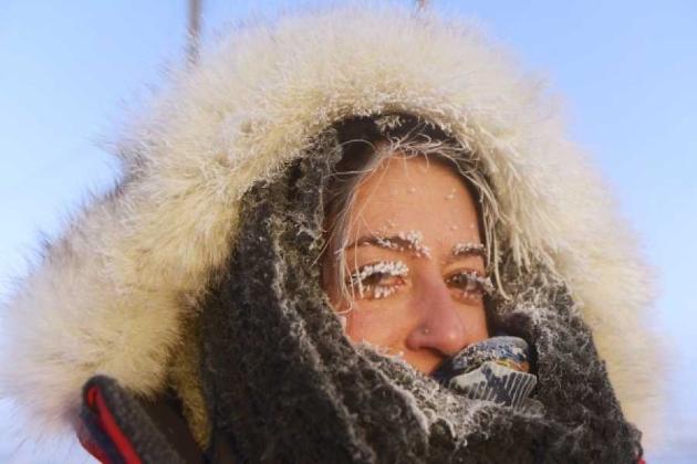 Девушка с замерзшими ресницами