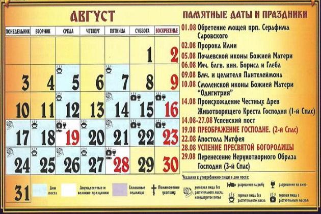 Церковные праздники в августе