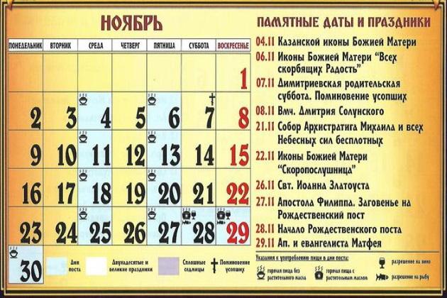 Церковные праздники в ноябре