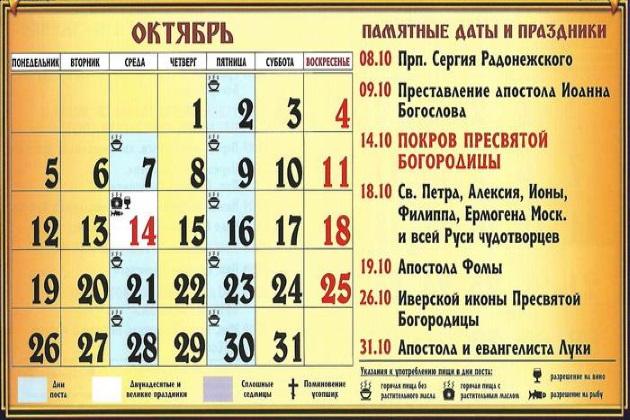 Церковные праздники в октябре