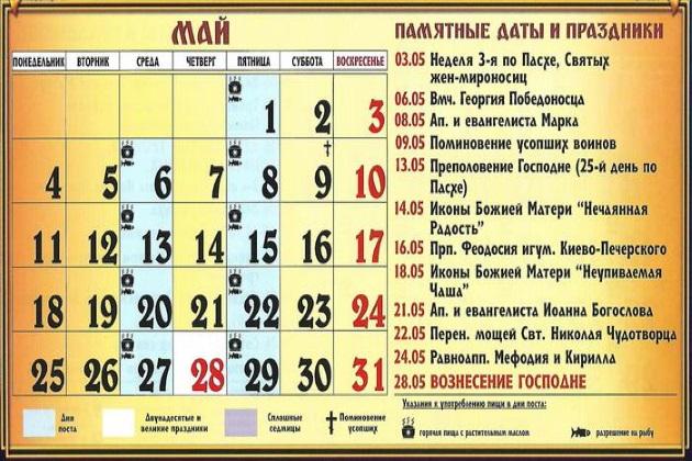 Церковные праздники в мае