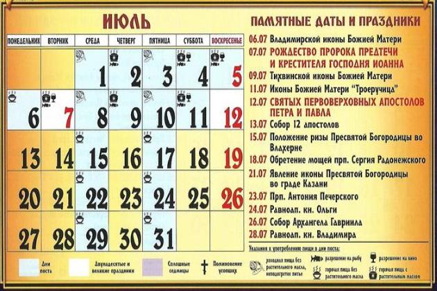 Церковные праздники в июле