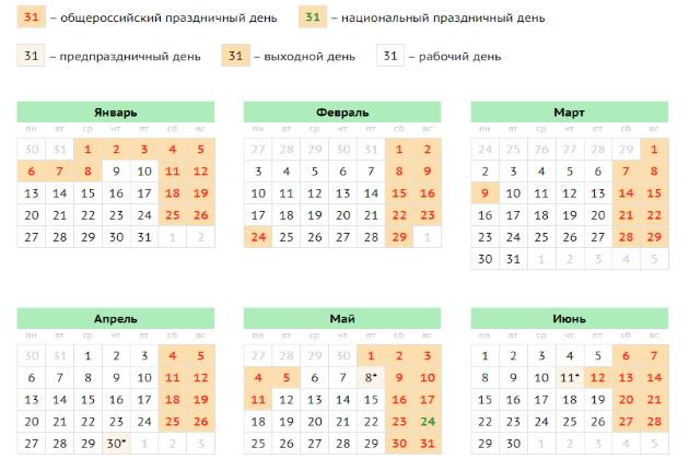 Производственный календарь для Татарстана